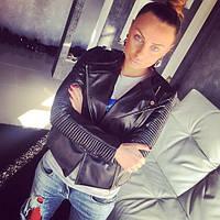 Женская кожаная куртка (черная и бежевая)