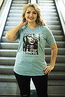 Женская стильная футболка с коротким рукавам большого размера (2 цвета) серый, 54-56