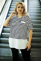 Женская стильная футболка-рубашка большого размера в полоску 54-56