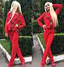 Женский стильный красный костюм со змейками + (Большие размеры)