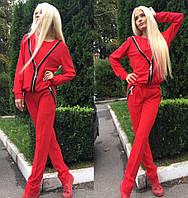 Женский стильный красный костюм со змейками + (Большие размеры) , фото 1