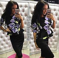 Женский стильный костюм: блуза с баской и юбка-карандаш