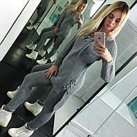 Женский супер стильный вязаный теплый костюм: туника на шнуровке и вязанные штаны (3 цвета) Турция, фото 1