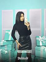 Женская стильная юбка из эко-кожи с кружевом
