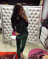 Женский модный бархатный костюм: кофта с капюшоном и брюки (4 цвета) пудра, S