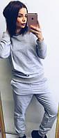 Женский серый повседневный костюм: свитшот и штаны, фото 1