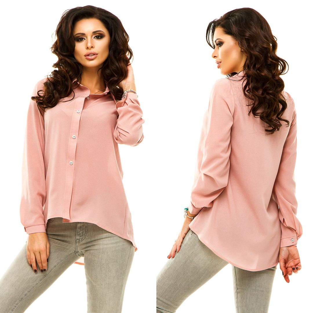 ad6521890e8 Женская рубашка спереди короче