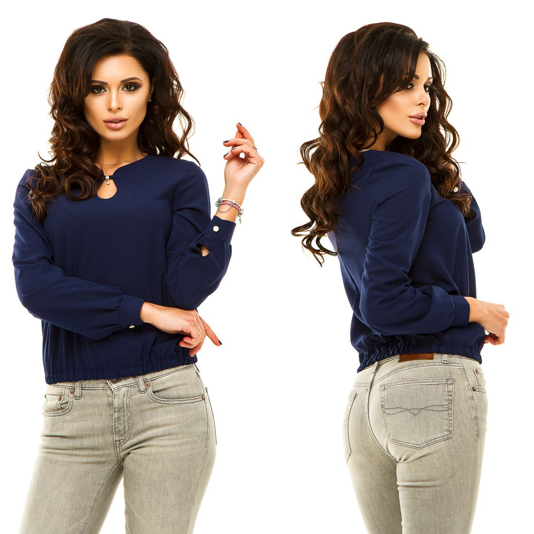 Блуза с длинным рукавом,Материал: креп-шифон Размеры: 42, 44, 46, 48 Цвета: темно-синий, зеленый, электрик, кр