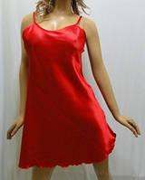 """Атласная ночная рубашка на тонкой бретельке, """"Сердце богини"""" красный"""