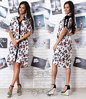 Женское модное асимметричное платье с цветочным принтом (2 варианта) , фото 1