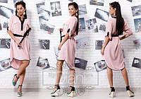 Женское модное асимметричное платье с пояском (3 цвета) , фото 1