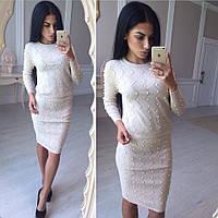 Женский любимый костюм: кофта и юбка с жемчугом, фото 1