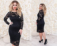 Женское стильное гипюровое платье больших размеров (6 цветов), фото 1
