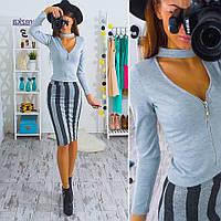 Женский модный костюм: топ и юбка (расцветки) (или отдельно), фото 1