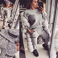 Женский стильный вязаный костюм: свитер и штаны с карманами