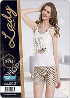 Женская пижама Lady Lingerie 7172, домашний костюм майка и шорты