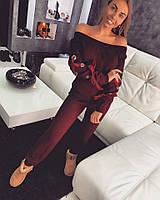 Женский красивый теплый вязаный костюм с люверсами и атласной лентой (3 цвета), фото 1