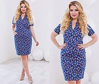 Женское красивое прямое платье с абстрактным принтом (2 цвета) , фото 1