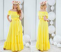 Женское модное платье в пол с воланом и баской (5 цветов) 50