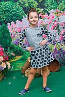 Костюм для девочки реглан+юбка Светло серый в горох р.116-134