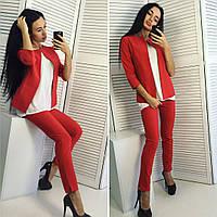 Женский стильный костюм: жакет и брюки (3 цвета), фото 1