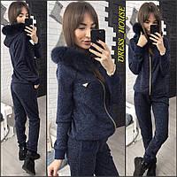 Женский зимний костюм: кофта на молнии с мехом и теплые брюки (5 цветов) черный, S-M