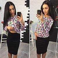 Женский модный костюм: кофта с принтами и юбка-карандаш (5 цветов), фото 1