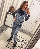 Женский модный костюм из мраморного велюра (4 цвета) серый, S