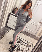 Женский модный вязаный костюм: кофта на молнии и брюки (5 цветов), фото 1