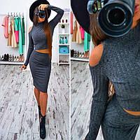 Женский стильный костюм-двойка: топ и юбка (2 цвета), фото 1
