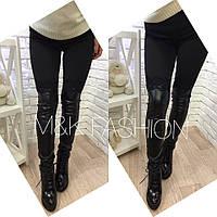 Женские модные леггинсы-ботфорты с эко-кожей и кружевом 42, черный