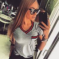 """Женская модная футболка с довязом """"Gucci"""" (3 цвета) универсал, серый"""