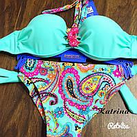 Женский красивый яркий купальник с брошкой (4 цвета) 36