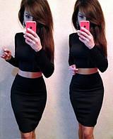 Женский модный костюм: топ и юбка с высокой талией (расцветки), фото 1
