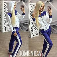 Женский стильный спортивный костюм на молнии с шевроном : мастерка,штаны + (Большие размеры)  М