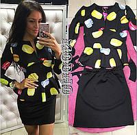 """Женский стильный костюм: блуза с баской и юбка """"Макаруны"""" (2 цвета) белый, S"""