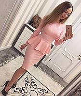 Женский стильный костюм из жаккарда (4 цвета) розовый, M