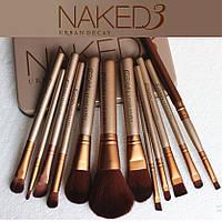 Набор кистей для макияжа NAKED 3 в железном футляре 12 шт