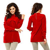 """Шифоновая женская блуза-туника """"Geneva"""" с воротничком и длинным рукавом (10 цветов)"""