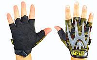 Перчатки тактические с открытыми пальцами MECHANIX WEAR р-р L-XL, камуфляж Woodland)
