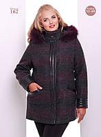 Женское стильное пальто на молнии со вставками (Большие размеры) коричневый, 50