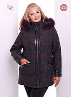 Женское стильное пальто на молнии со вставками (Большие размеры) коричневый, 58