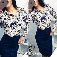Женская стильная рубашка в расцветках (10 цветов) принт-1, S-M