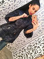 """Женская удлиненная куртка """" Катрин"""" (2 цвета) черный, Л"""