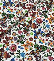 Хлопковая ткань бабочки разноцветные с цветочками