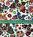 Хлопковая ткань бабочки разноцветные с цветочками, фото 2