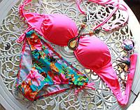 Женский красивый купальник с украшением (5 расцветок) С, малина
