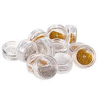 Набор бисера (бульонок) золото + серебро, 12 шт