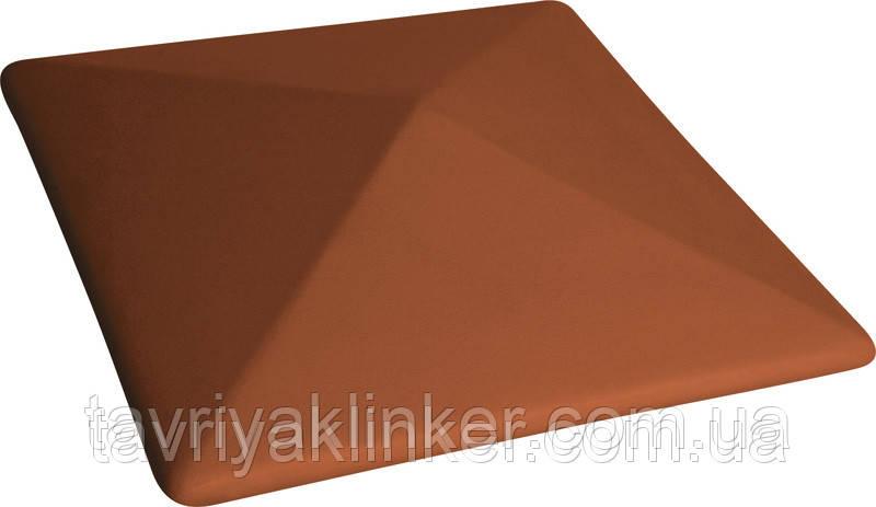 Клинкерная крышка на забор KingKlinker  красный (01) 445x445x90мм, фото 1