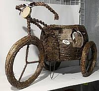 """Кашпо """"Велосипед"""" солома большой коричневый"""